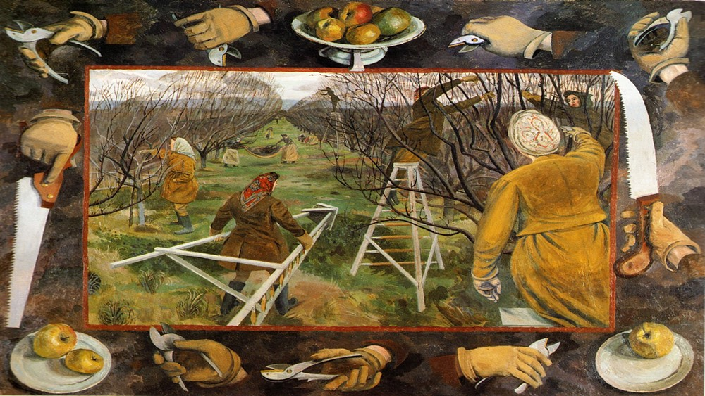 Evelyn Dunbar - Land Girls Pruning at East Mailing /1944/